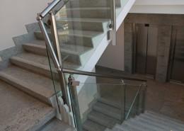 Balaustra in alluminio e vetro