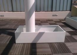 Particolare vasca di contenimento a decorazione terrazzo